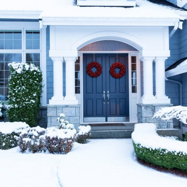 Blue wintery house